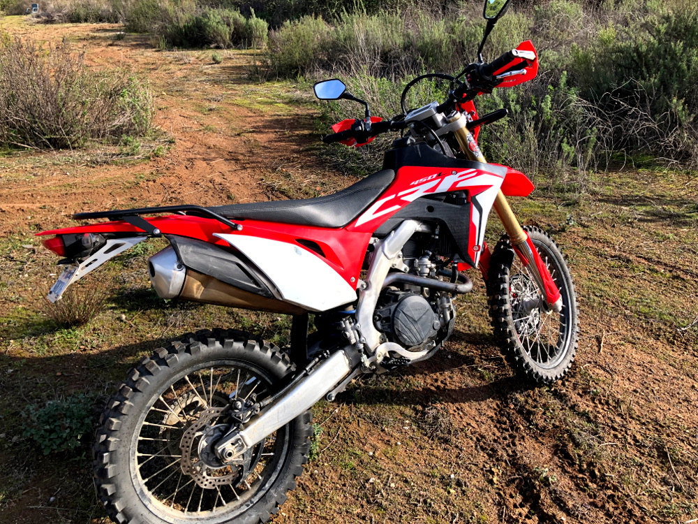 crf450l rear luggage rack side view