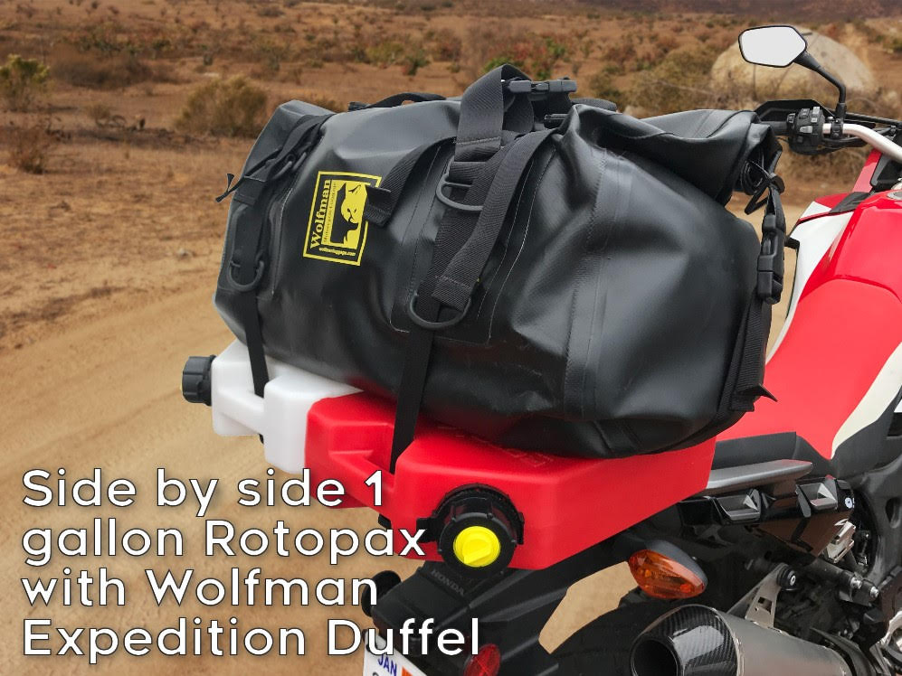 africa twin crf1000l rear luggage rack wolfman expedition duffel dual rotopax