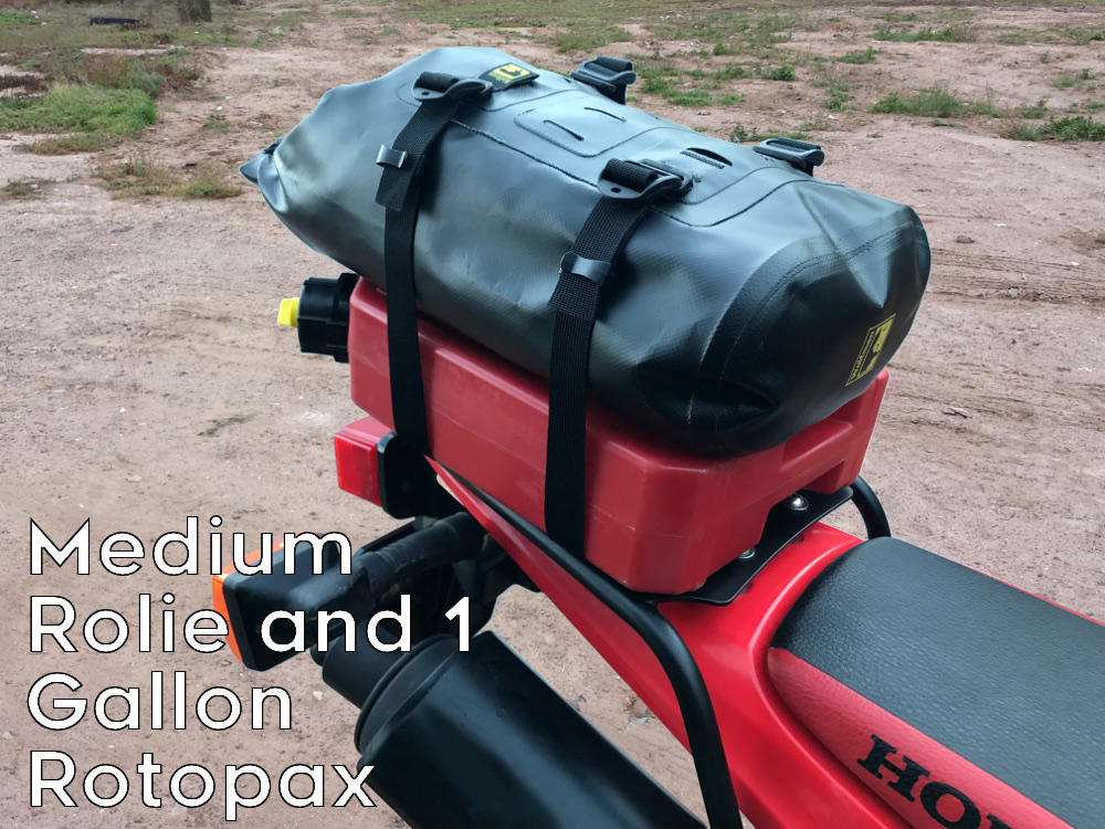 crf230l rear luggage rack rotopax can wolfman rolie
