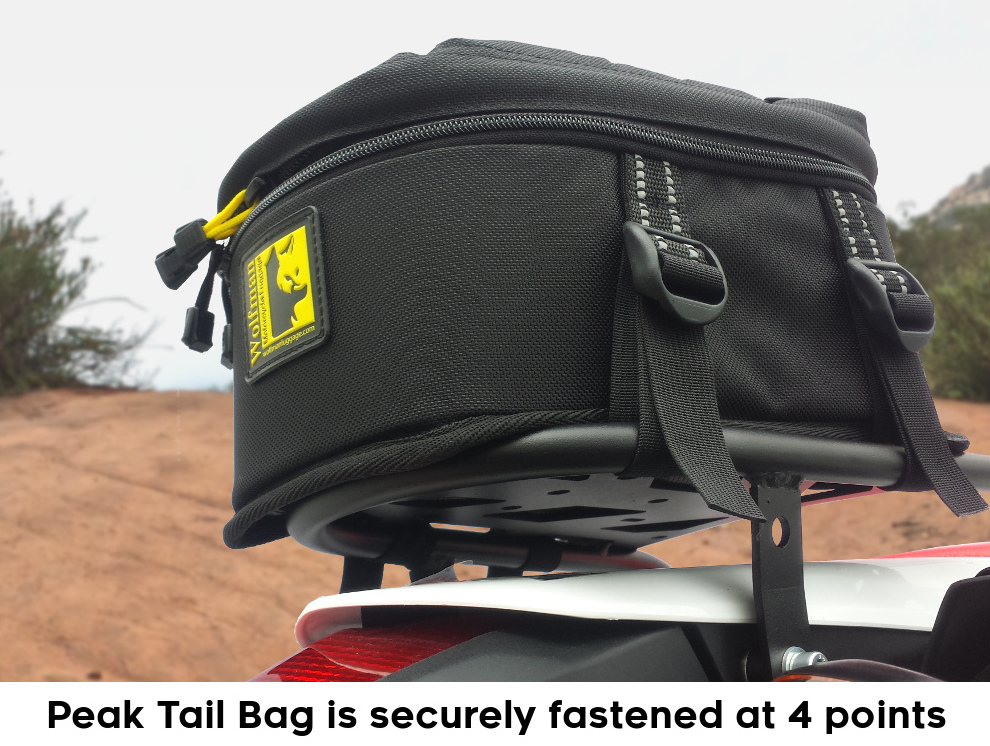 crf250l rear luggage rack wolfman peak tail bag 1