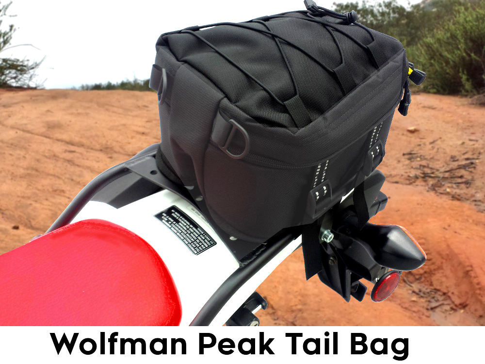 crf250l rear luggage rack wolfman peak tail bag