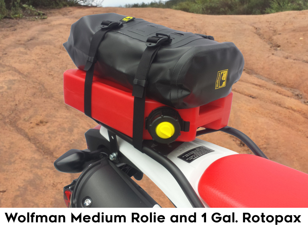 crf250l rear luggage rack wolfman rolie rotopax