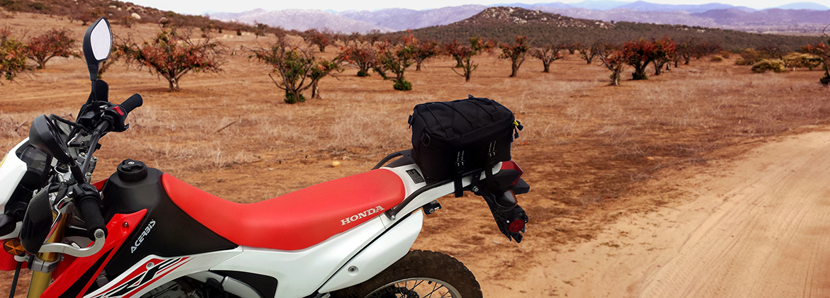 Honda CRF250L with Enduro Rack and Peak Tail Bag in Baja MX PMRacks PMR