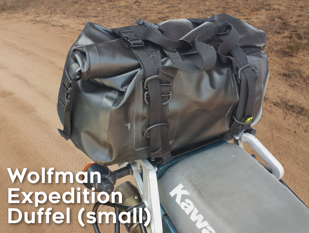 klr650 07 rear luggage rack wolfman expedition bag