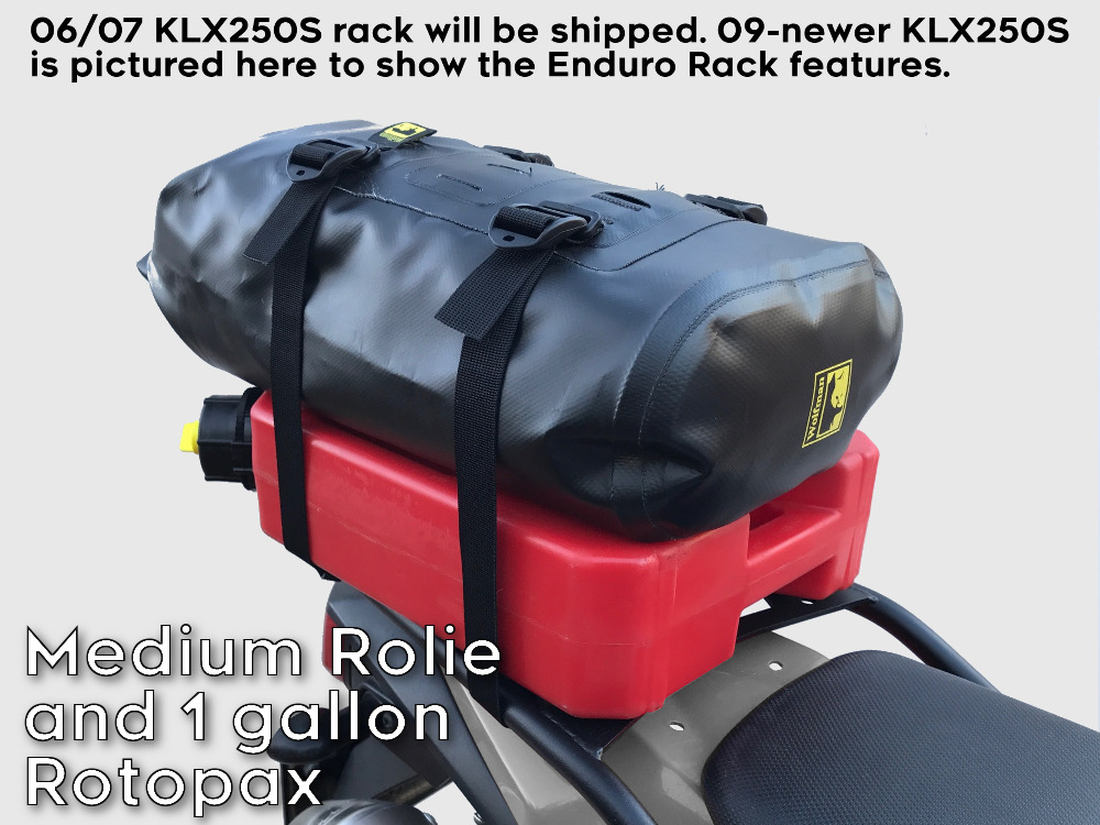klx250s 07 rear luggage rack rotopax can wolfman rolie