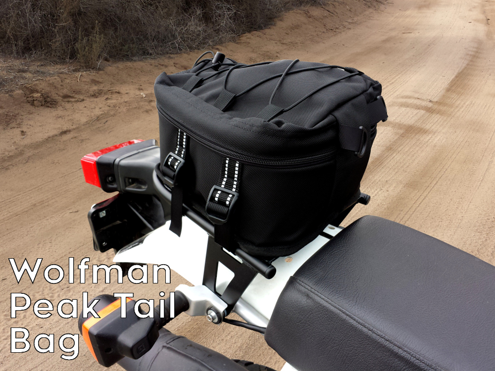 XR650L rear luggage rack wolfman peak tail bag