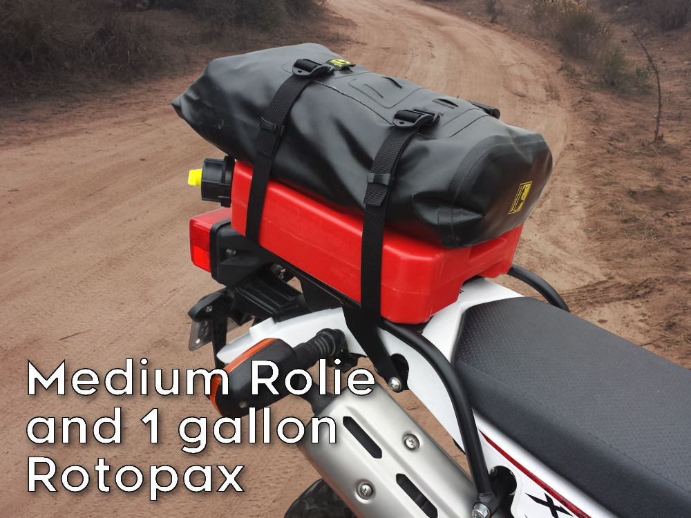 xt250 rear luggage rack rotopax wolfman rolie